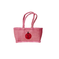 Childs Small Pink Raffia Shopping Basket By Rice DK